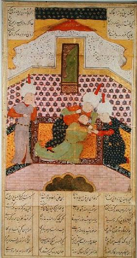 The Murder of Siyawush, brother of Kay Ka'us, at the court of Turan, illustration from the 'Shahnama