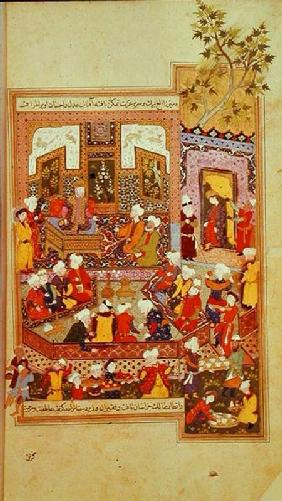 Ulugh Beg (1393-1449) dispensing justice at Khurasan, illustration from the 'Shahnama' (Book of King