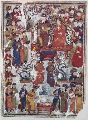 Ms. Supp. Pers. 113 f.44v Genghis Khan and his wife Bortei enthroned before courtiers
