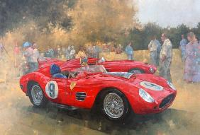 Ferrari, day out at Meadow Brook (huile sur toile)
