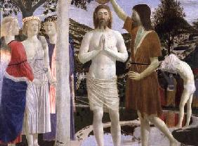 Baptism of Christ, detail of Christ, John the Baptist and angels