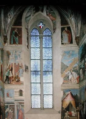 View of the end wall of the apse with frescoes from the Legend of the True Cross cycle