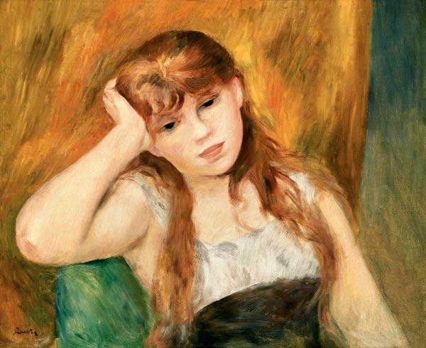 jeune fille pensive peinture huile sur toile de pierre auguste renoir. Black Bedroom Furniture Sets. Home Design Ideas