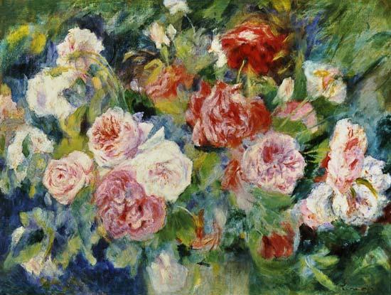 Roses - Pierre-Auguste Renoir en reproduction imprimée ou copie peinte à l'huile sur toile