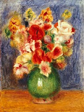 Still life with flowers in a green vase
