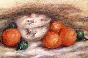 Still life with a covered dish and Oranges