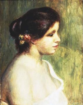 Young Woman with Flowers at her Ear
