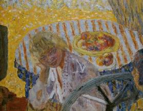 Young Woman with Striped Tablecloth