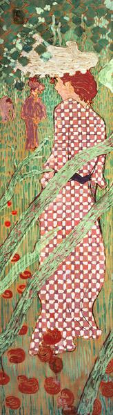 Woman with a Checked Dress, one of four panels of Women in the Garden
