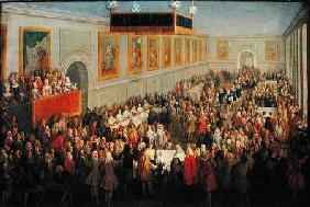 Feast given after the Coronation of Louis XV (1710-74) at the Palais Archiepiscopal in Rheims, 25th