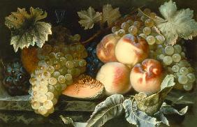 Still Life with Peaches, Melon and Grapes