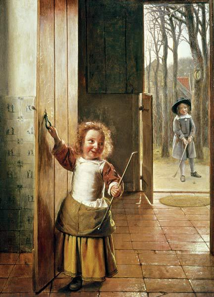 Children in a Doorway with 'Colf' Sticks