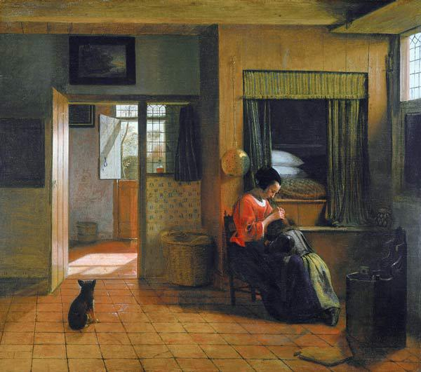 Interior with a Mother delousing her Child's Hair (A Mother's Duty)
