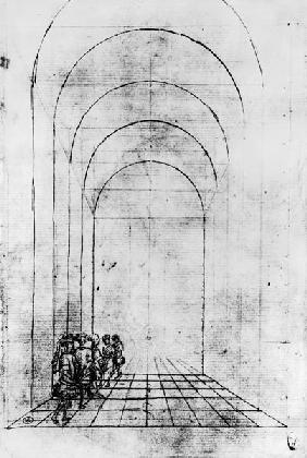 People under an Arch (black & white photoprint)
