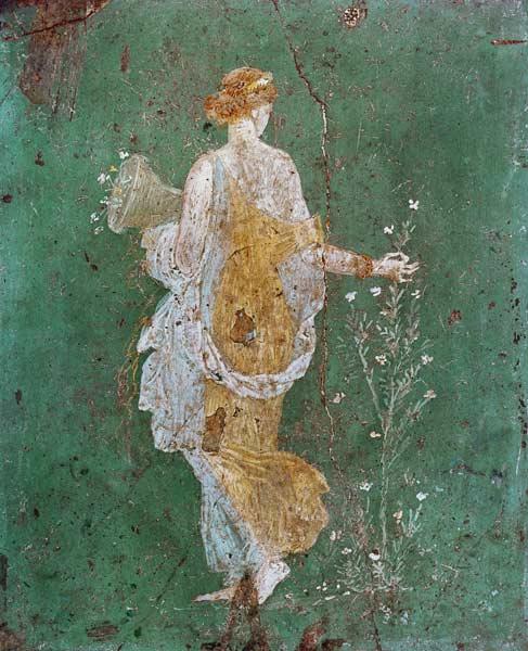 Flora avec la corne d 39 abondance pompeji wandmalerei - Style de peinture murale ...