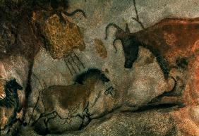 Rock painting showing a horse and a cow