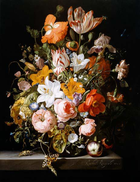 Still life of roses, lilies, tulips and other flowers in a glass vase with a Brindled Beauty on a st