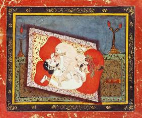 'The posture of the crow' from the Kama Sutra, ecstatic oral intercourse between a prince and a lady