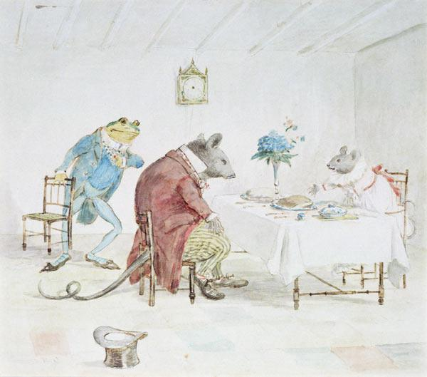 ''Pray, Miss Mouse, will you give us some beer'', illustration from ''A Frog He Would A-Wooing Go''