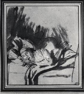 Sick woman in a bed, maybe Saskia, wife of the painter