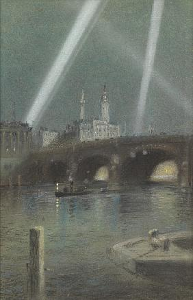 War Searchlights over London Bridge