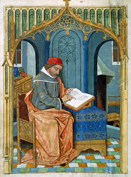 Ms Fr. Fv VI #1 fol.3v Matthaeus Platearius (d.c.1161) writing ''The Book of Simple Medicines'', c.1