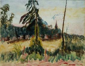 Landscape with Trees and a Small Church (oil on board)