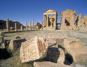 View of the forum with the temples of Jupiter, Juno and Minerva, Sufetula (photo)