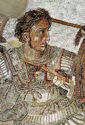 Alexander the Great (356-323 BC) from 'The Alexander Mosaic', depicting the Battle of Issus between