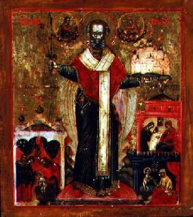 Saint Nicholas of Mozhaisk with scenes from his life