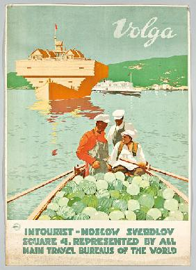 Poster for the Russian travel agency 'Intourist' advertising Volga