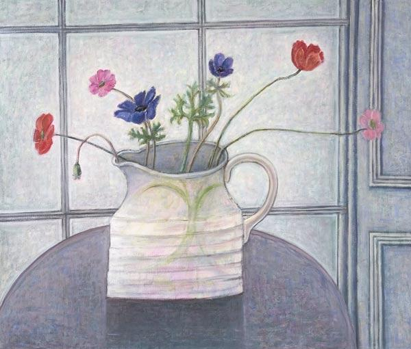 Anemones and Poppies, 2008 (oil on canvas) jug; flowers; still life; inetrior; window; table; white