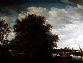 A River Landscape with Figures in a Ferry Boat