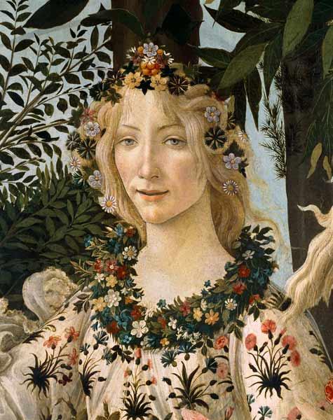 Detail Du Tableau Le Printemps Tete De Flora Tempera Sur Bois De Sandro Botticelli En Reproduction Imprimee Ou Copie Peinte A L Huile Sur Toile