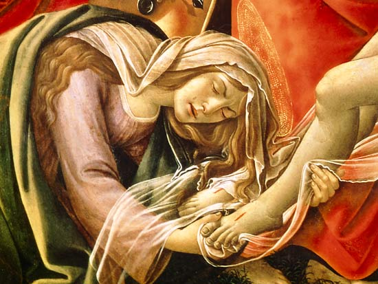 The Lamentation of Christ, detail of Mar - Sandro Botticelli en  reproduction imprimée ou copie peinte à l'huile sur toile