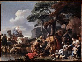 Jacob burying the strange gods under the oak by Shechem