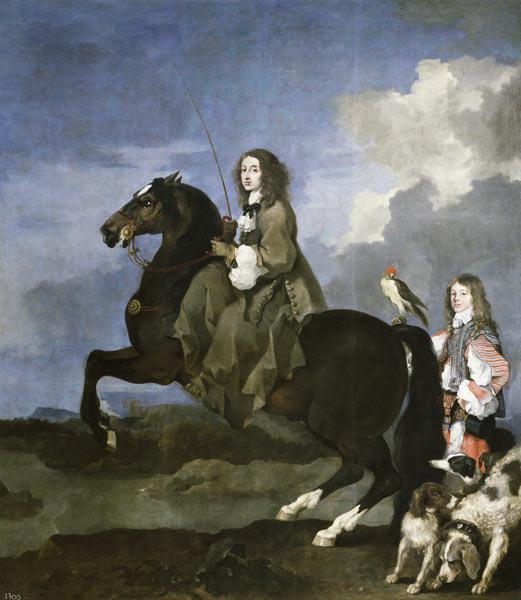Portrait of Queen Christina of Sweden (1626-1689) on Horseback