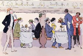 Restaurant Car in the Paris to Nice Train, 1913 (colour litho)