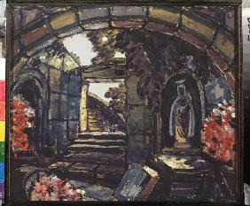 Stage design for the theatre play Sister Beatrice by M. Maeterlinck
