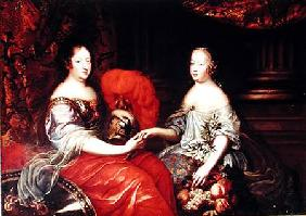 Portrait of Anne of Austria (1601-66) and her Niece and Step-daughter Marie-Therese of Austria (1638