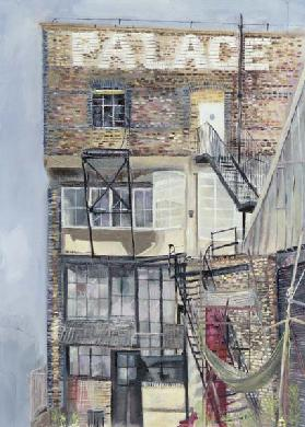 Palace Wharf, Rainville Road (oil pastel on paper)
