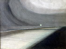 Beach in Moonlight, Seascape with Light