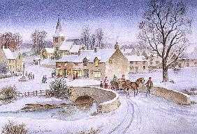 Christmas Eve in the Village (w/c on paper)