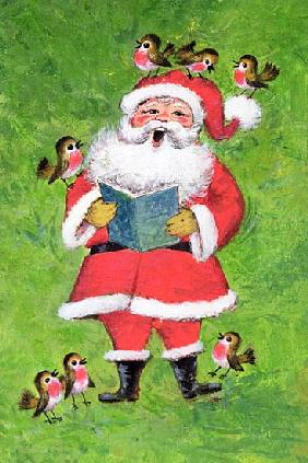 Father Christmas and Robin Chorus (w/c and gouache on paper)