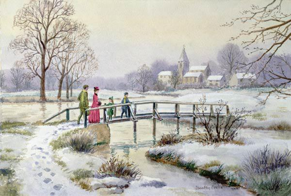 Footbridge in Winter (w/c on paper)