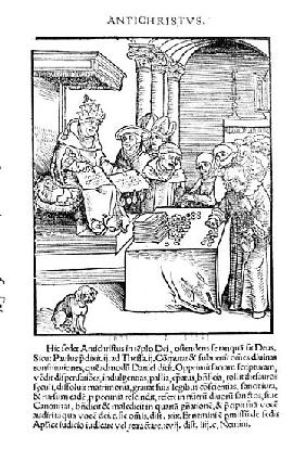 The Pope selling Indulgences from ''Passional Christi und Antichristi'' Philipp Melanchthon, publish