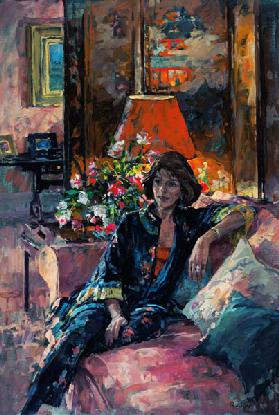 Mrs Peter Hambro, 1996 (oil on canvas)