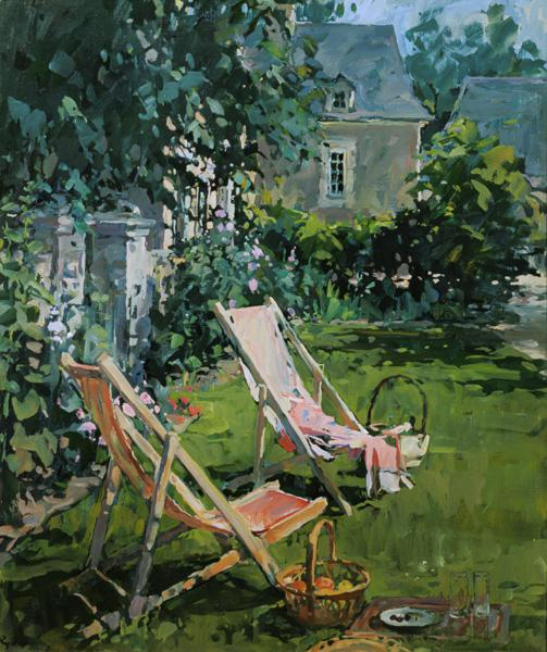 Deck Chairs at Coudray, 1998 (oil on canvas)