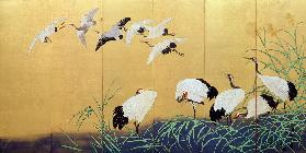 Six-Fold Screen Depicting Reeds and Cranes, Edo period, Japanese, 19th century