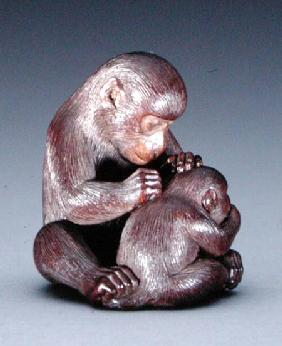 Netsuke depicting a mother monkey and her son